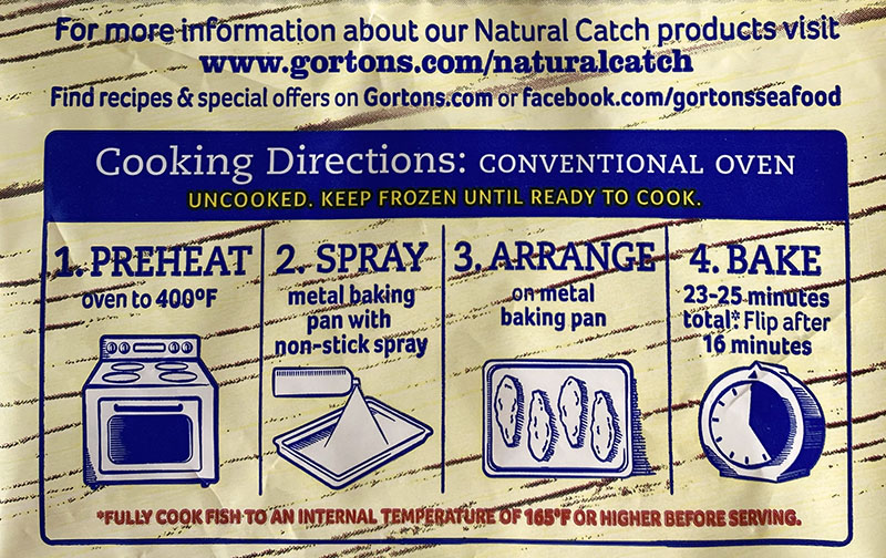 Gorton's Natural Catch Fish Fillets cooking instructions