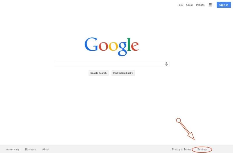 Google Homepage Settings