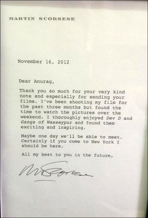 Martin Scorsese's letter to Anurag Kashyap