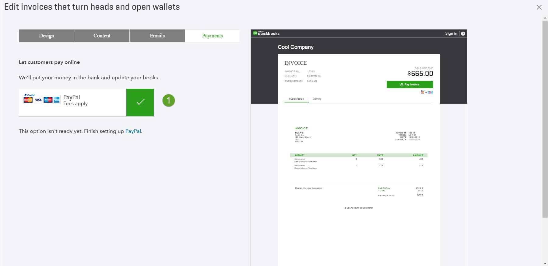 Send beautiful, custom invoices quickly with a simplified