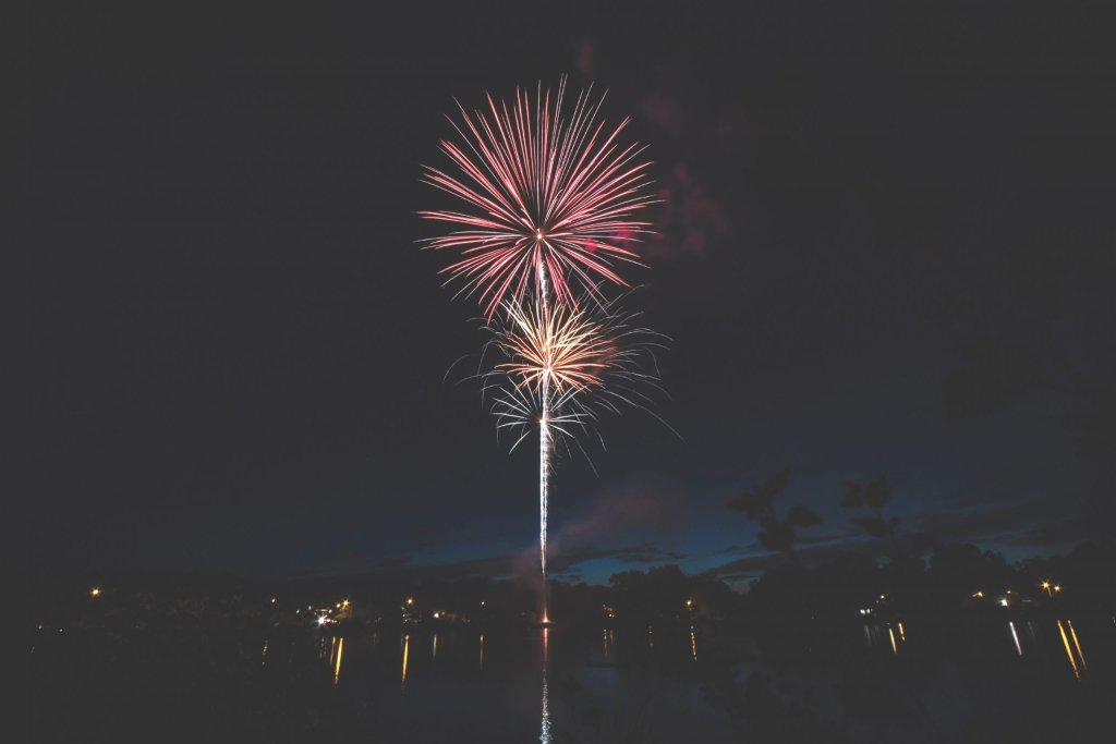 Fireworks in the night sky.
