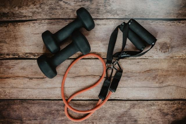 A jump rope and weights.