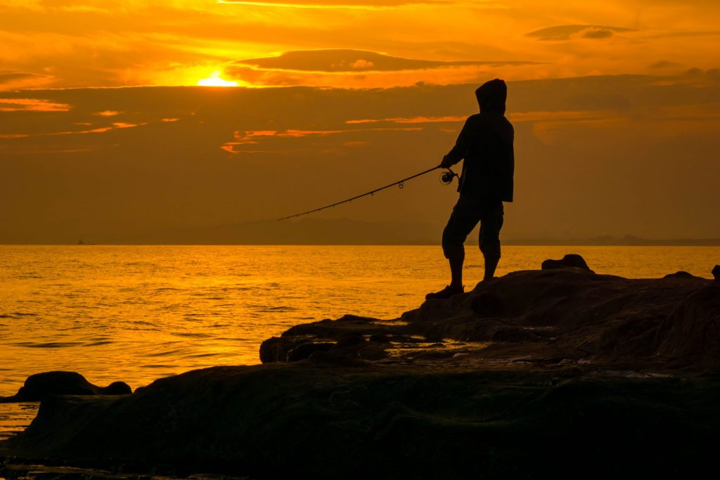 A person fishing.