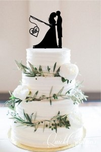 Quick Creations Cake Topper - Bride & Groom Fishing Initials