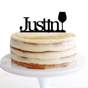 Quick Creations Cake Topper - Justin Wine Glass