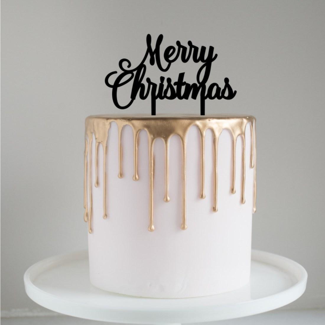 Merry Christmas Script Cake Topper