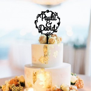 Wreath Couple Names Cake Topper
