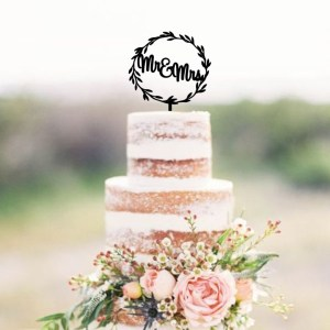 Wreath Mr & Mrs Cake Topper