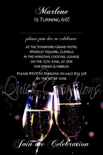 Adult Birthday Invitations Black Champagne 60th Invitation