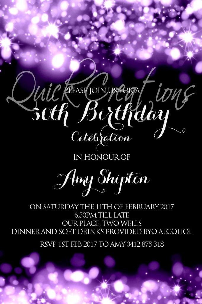 Adult Birthday Invitations Purple Sparkle 30th Birthday Invitation