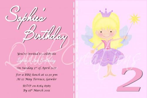Childrens Birthday Invitations Fairy Princess Invitation