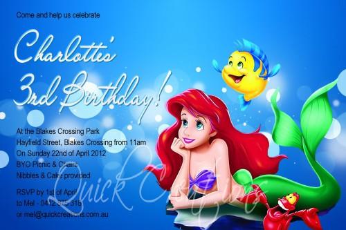 Childrens Birthday Invitations Little Mermaid Birthday Invitation