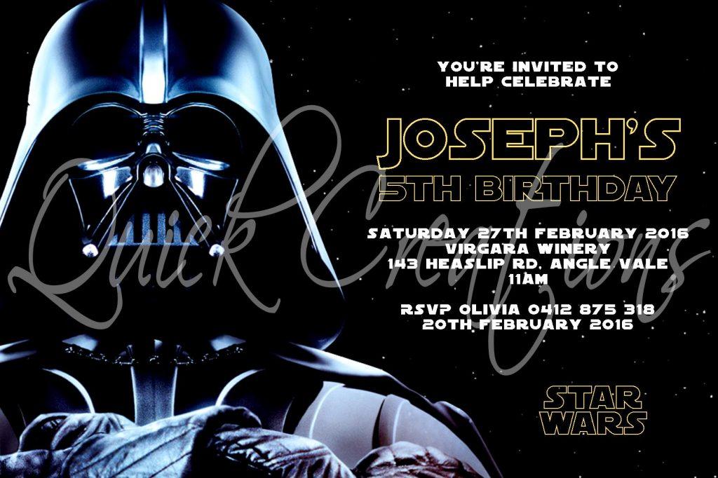 Childrens Birthday Invitations Darth Vader Star Wars Invitation