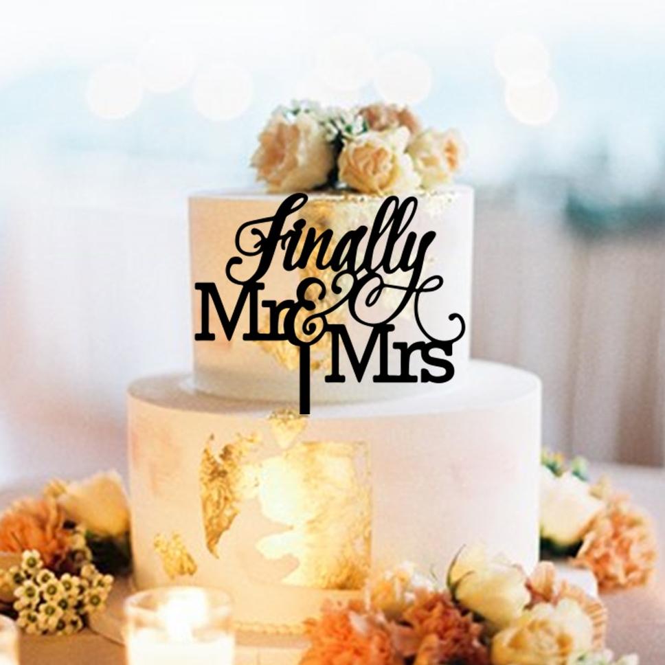 Finally Mr & Mrs Swirls Cake Topper
