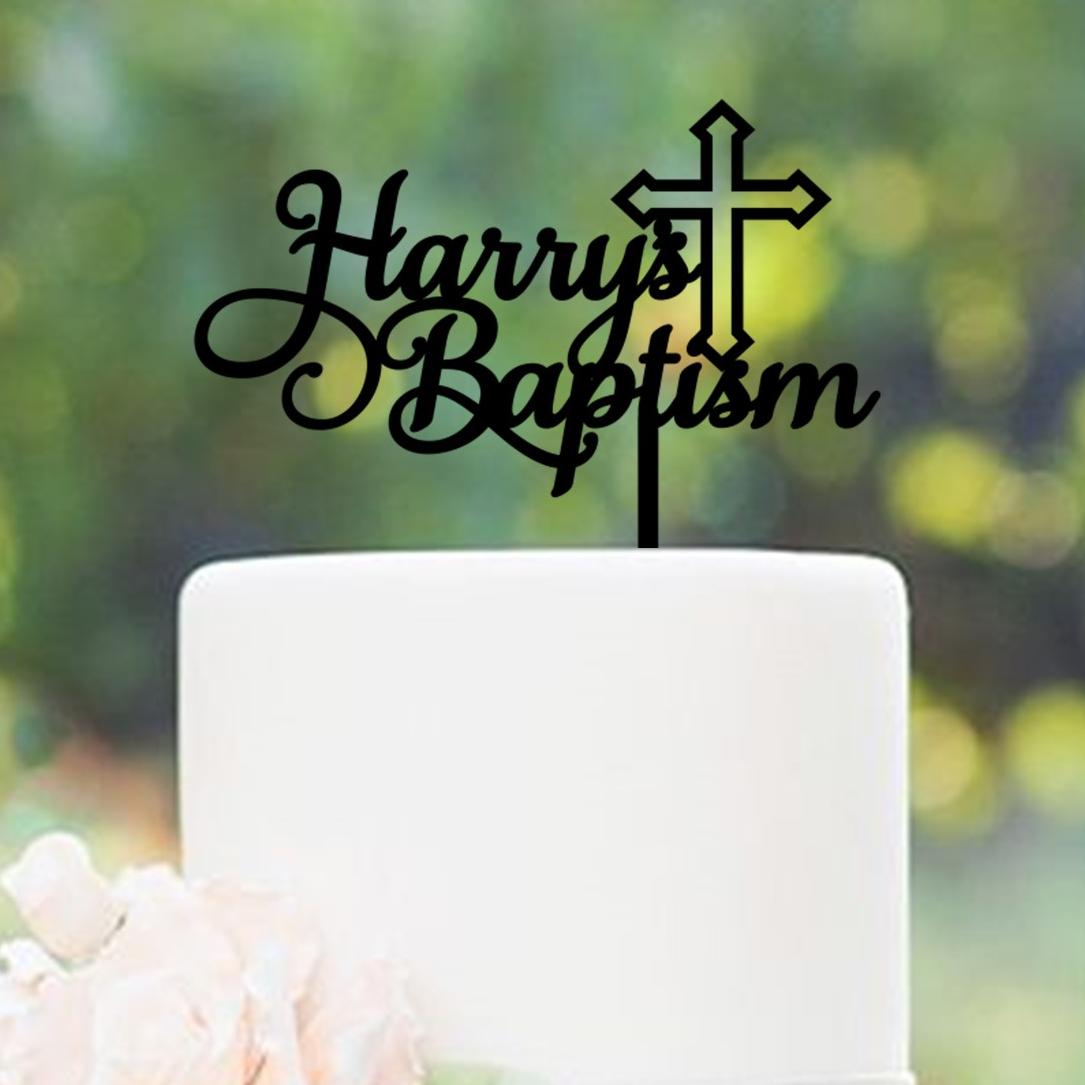 Personalised Name Baptism Cross Cake Topper