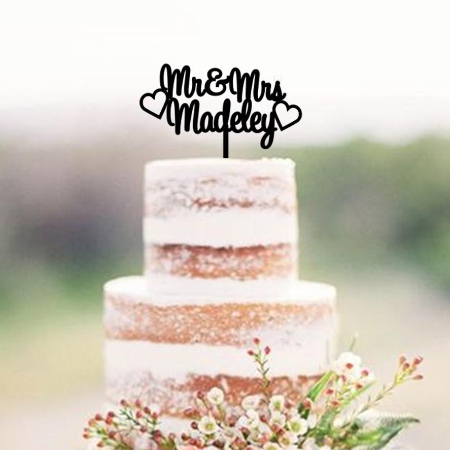 Mr & Mrs Name 2 Hearts Cake Topper