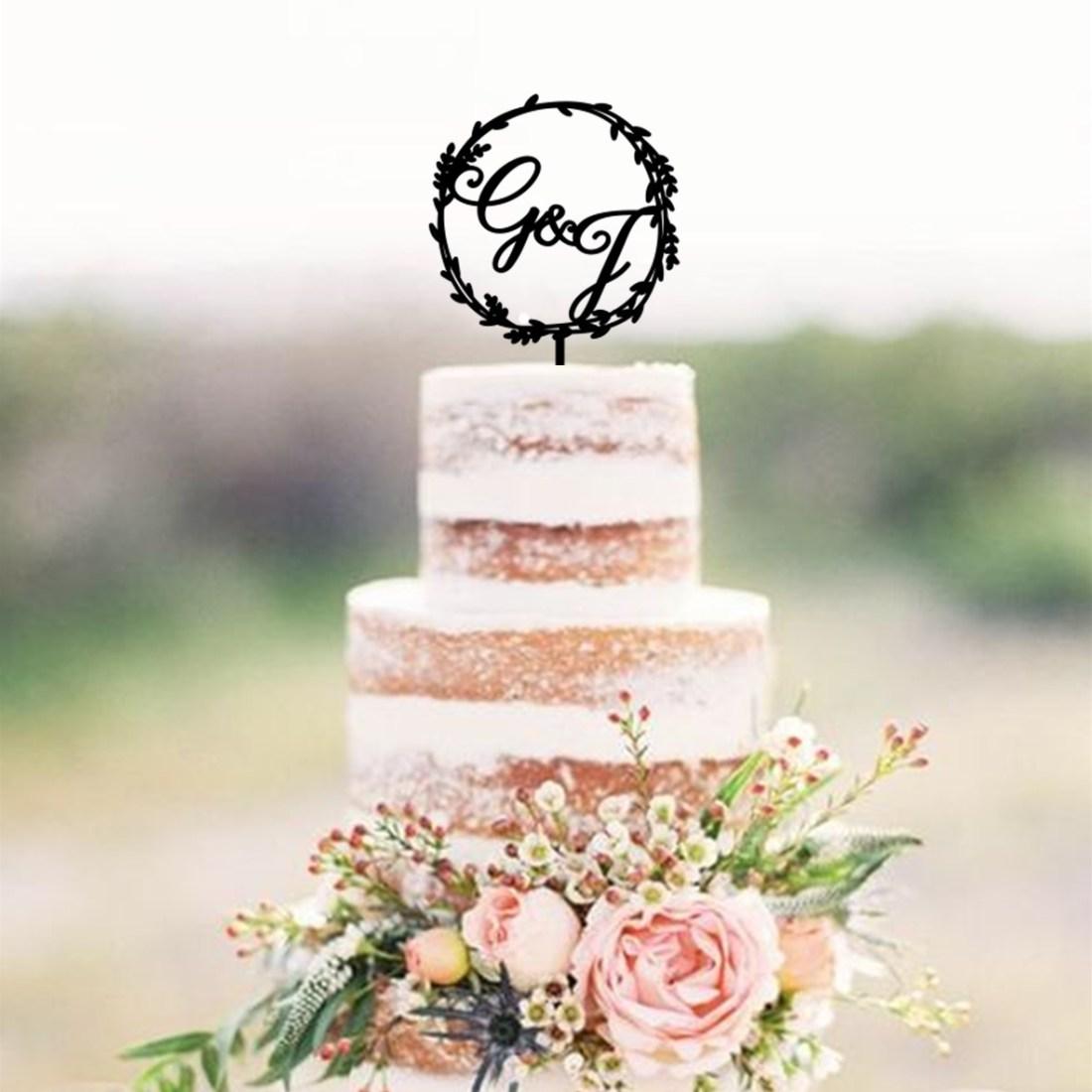 Wreath Initials Cake Topper