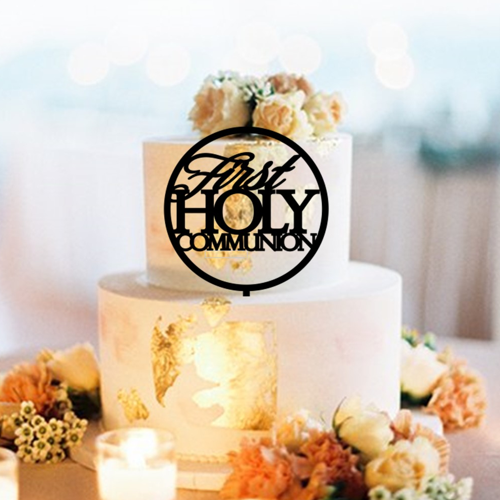 Round First HOLY Communion Circle Cake Topper