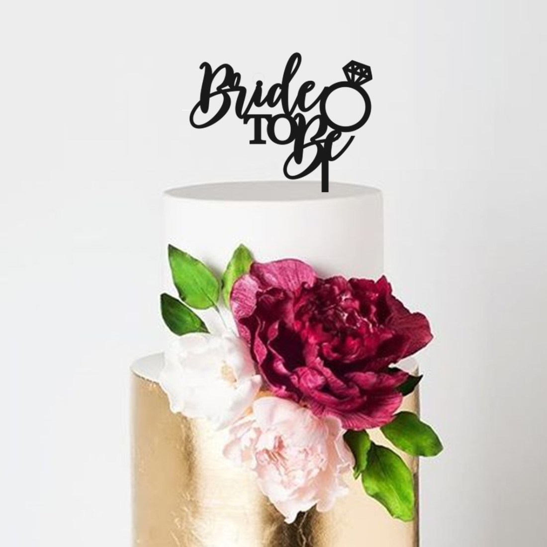 Bride to Be Engagement Ring Cake Topper
