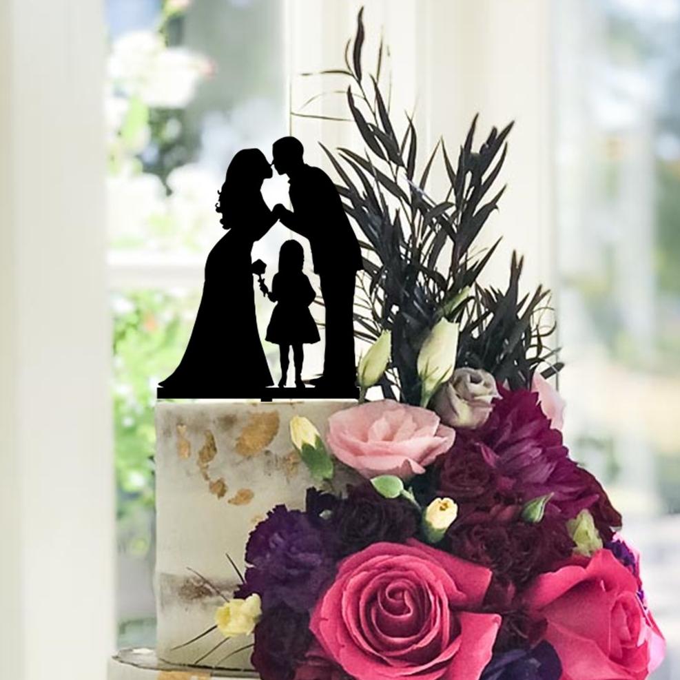 Bride, Groom & Daughter Flower Cake Topper