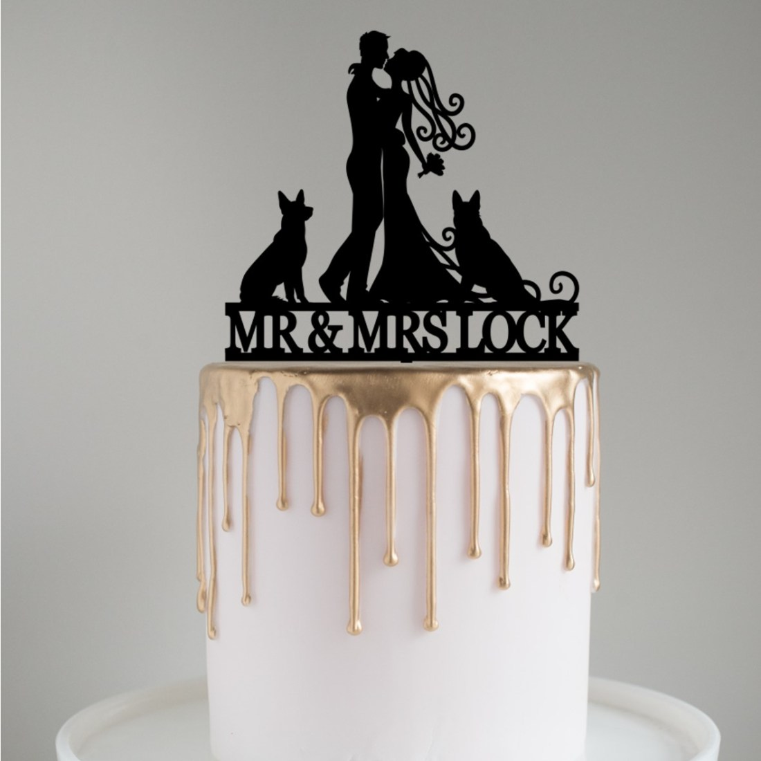 Personalised Bride & Groom with Large Dogs Cake Topper