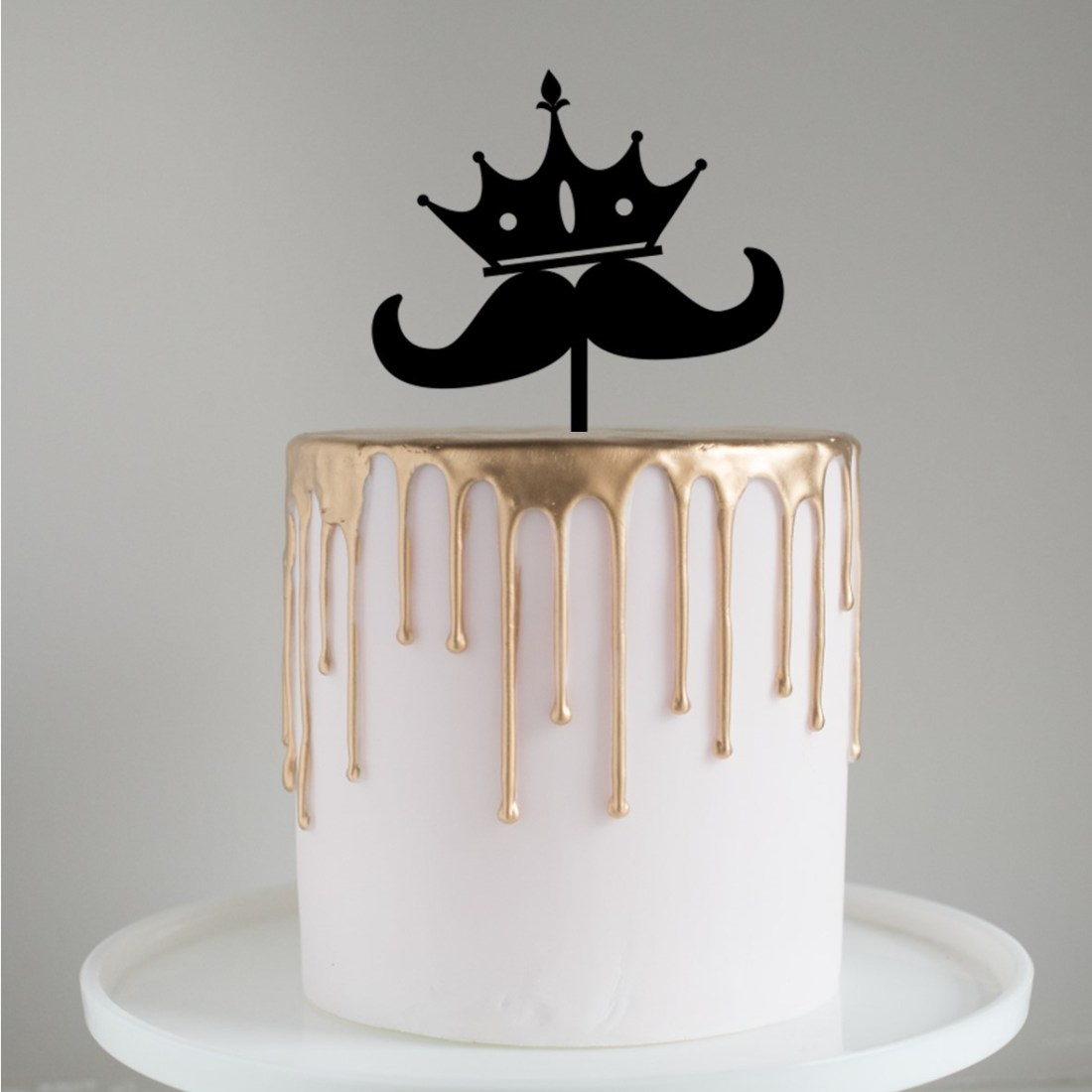 Fathers Day Moustache Crown Cake Topper