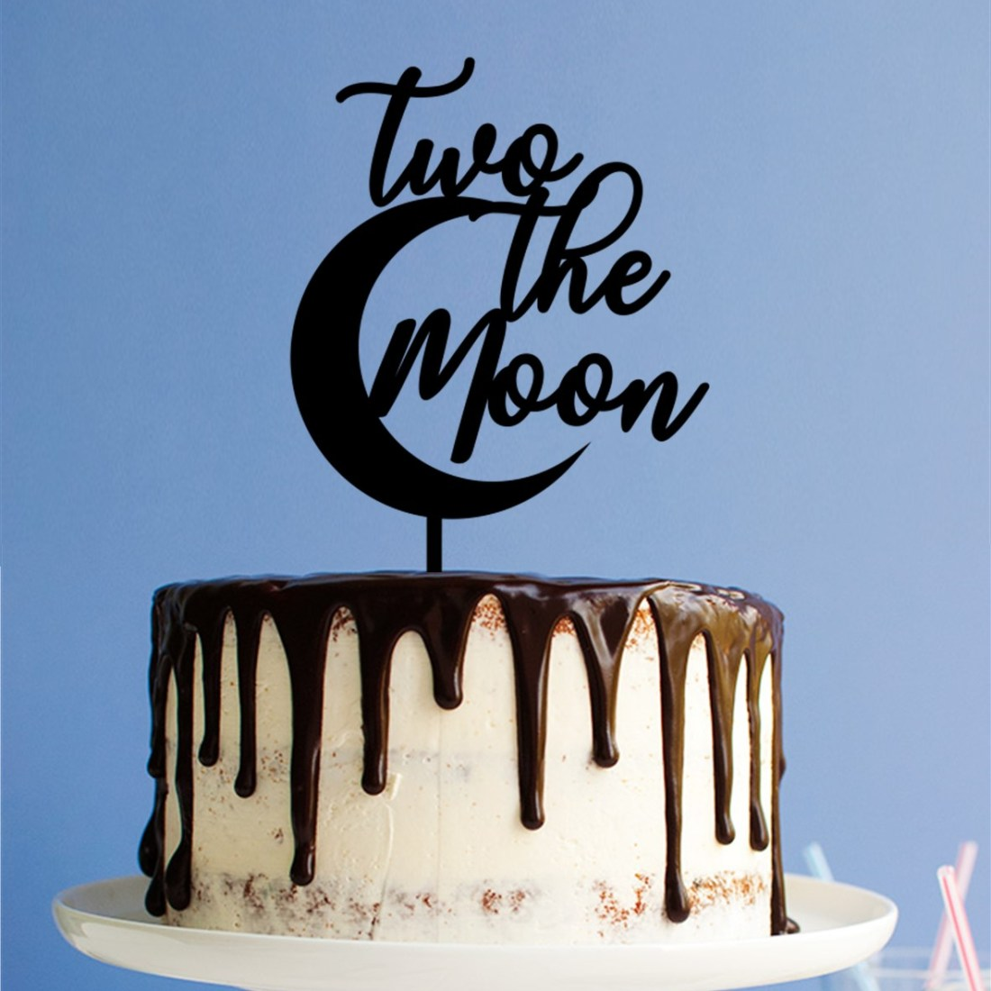 Two The Moon Cake Topper
