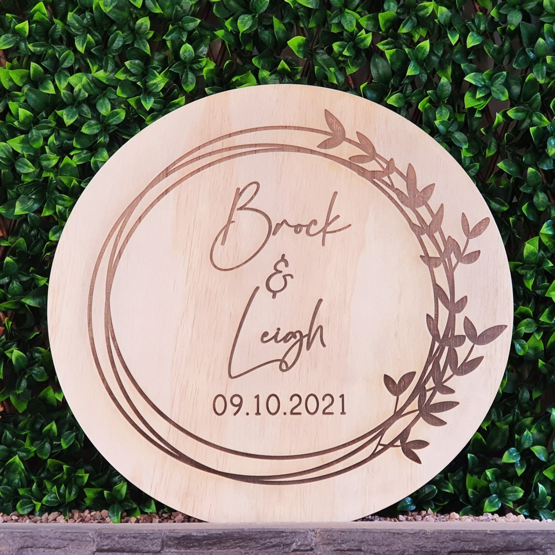 Wooden Round Engraved 60cm Sign with Wreath