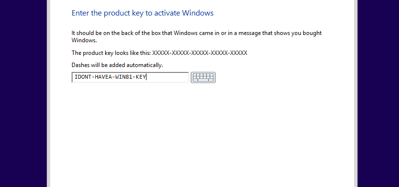 [Windows 8.1] Skip product key check during installation