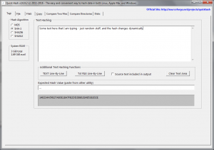 Starting interface of the program on Tab 1 with text being inputted by user and immediately hashed