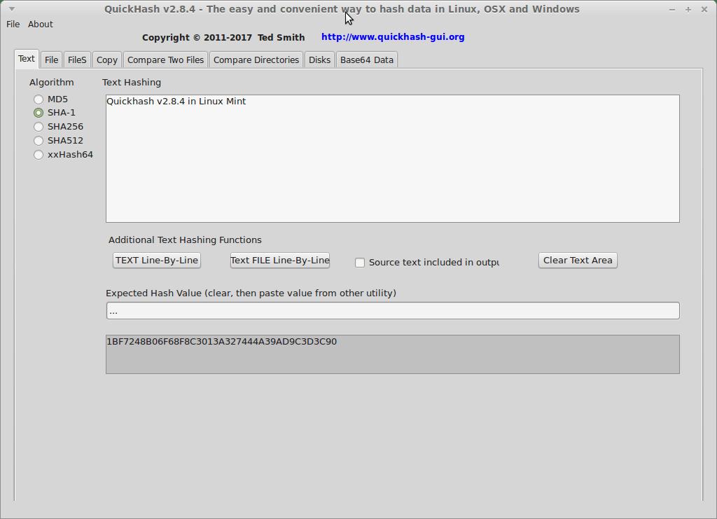 QuickHash-Linux-TextTab