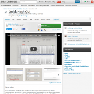 Quickhash homepage as it was on Sourceforge