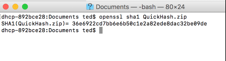 Computing the hash of the QuickHash Download on Apple Mac OSX