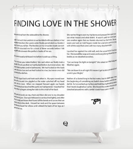 Finding Love in the Shower, an erotic short story on a shower curtain.