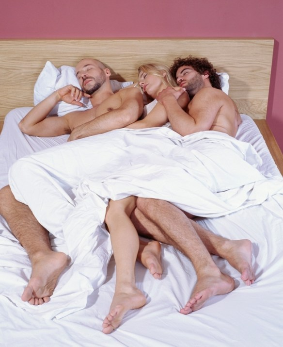 A threesome with two men and one woman: mmf