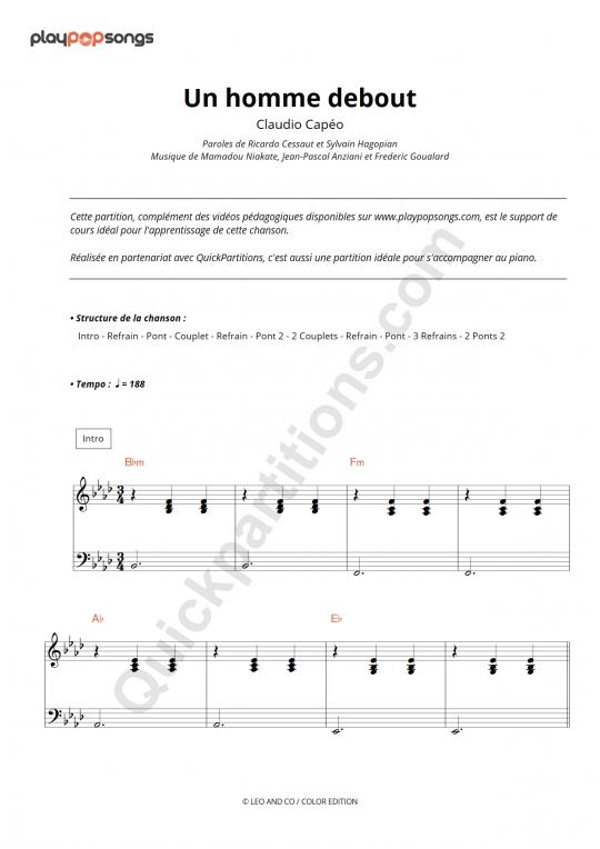 Chanson Un Homme Debout : chanson, homme, debout, Homme, Debout, Course, Material, PlayPopSongs, (Digital, Sheet, Music)