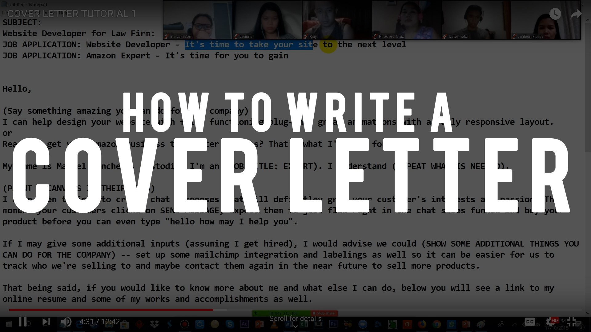 COVER LETTER TUTORIAL