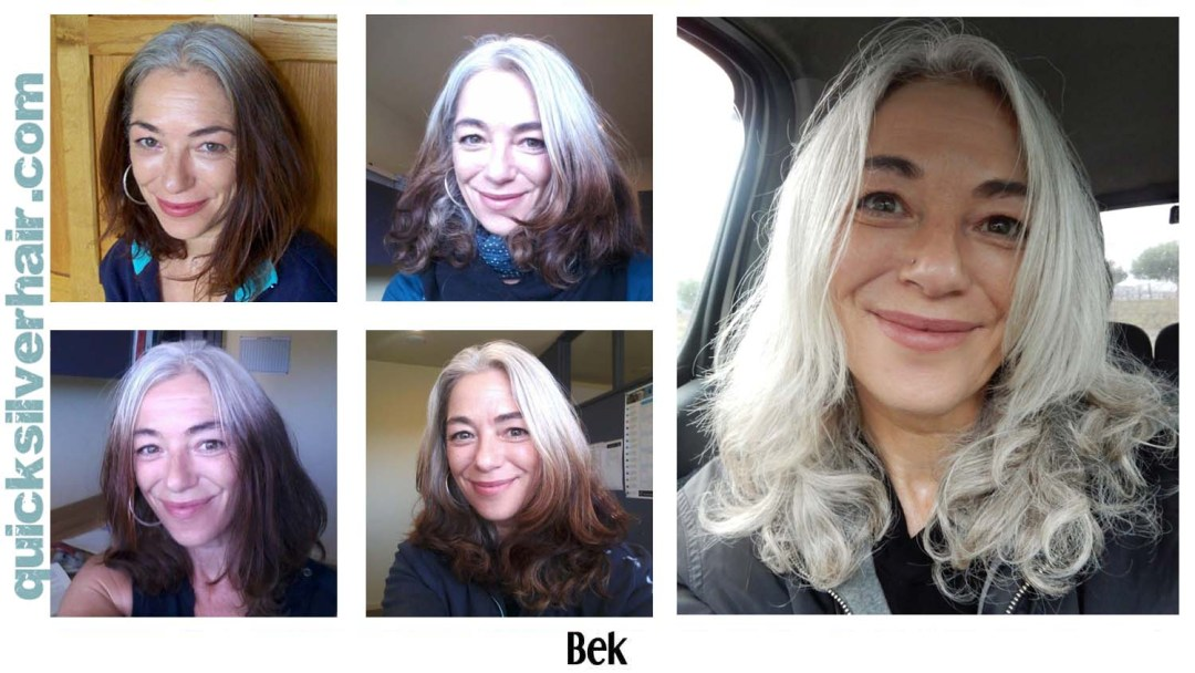 Images of Bek in her Transition from Dyed Hair To Your Natural Grey
