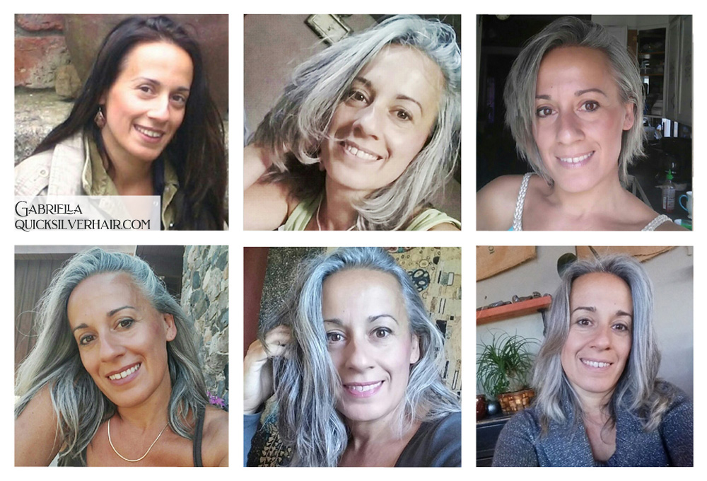 Collage pictures of Transition To Gray Hair Gabriella F