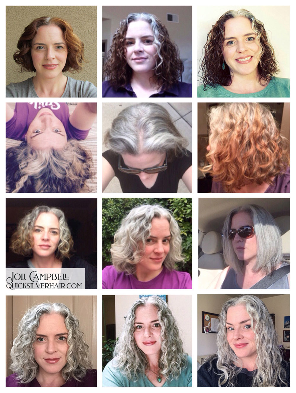 Collage images of Joli Campbell's Tranisition to Gray Hair