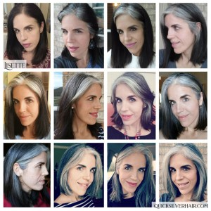 Collage images of Lisette P Transition To Gray Hair