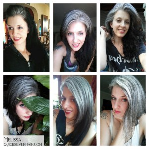Collage images of Melissa L Transition To Gray Hair