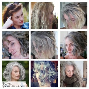 Collage images of Rachel T Transition To Gray Hair