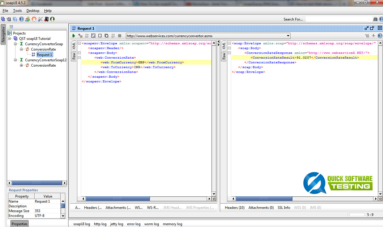 Testing WebServices in soapUI tool