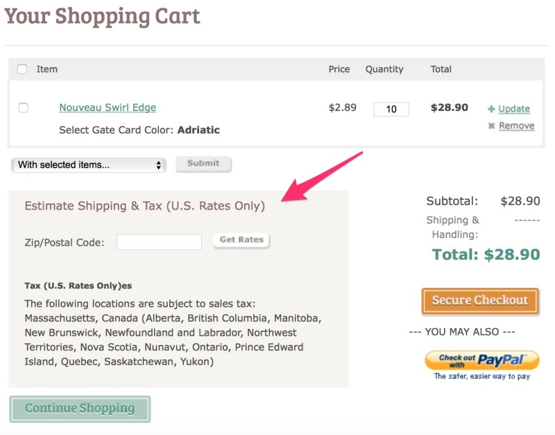 Cards and Pockets Your Shopping Cart