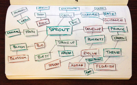 Mind mapping the word Sprout