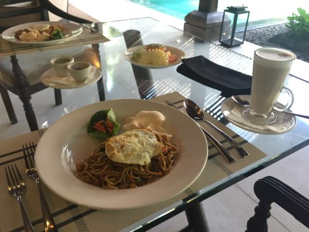 Mie Goreng--noodle and shrimp stir-fry with fried egg
