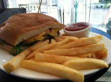 Fish sandwich and fries