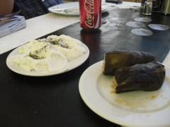 Eggplant wrap and yogurt sauce