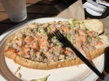Crab sandwich with cole slaw